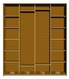 Шкаф-купе Аристократ-16 шириной 270 см (4-х дверный)