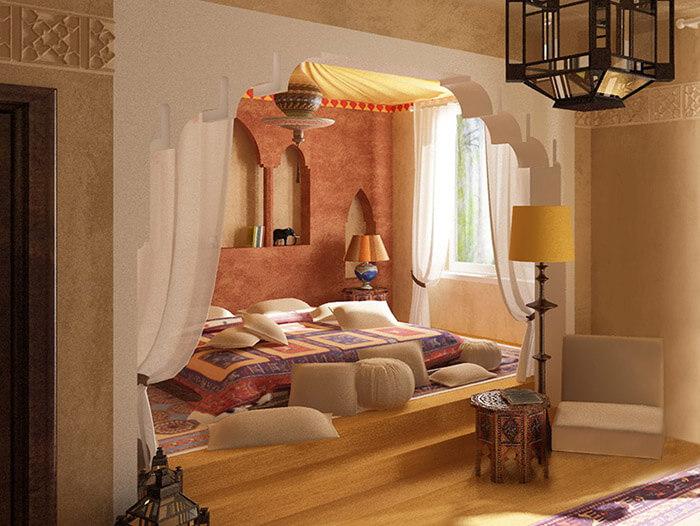 Спальня в марокканском стиле без кровати