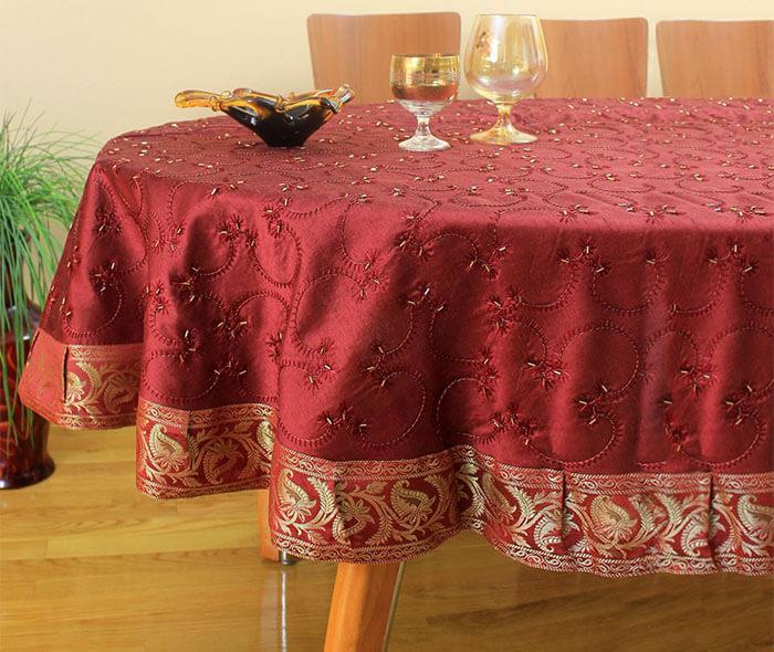 Овальная скатерть на стол - размеры