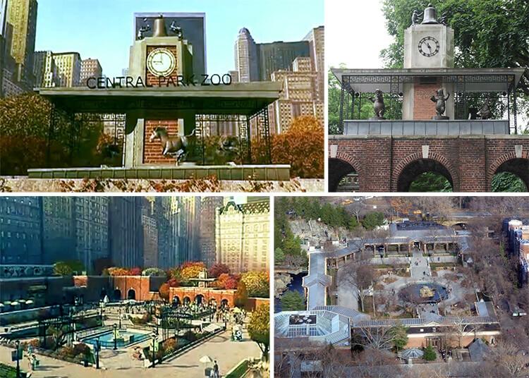 Кадры из мультфильма и реальный зоопарк в Нью-Йорке