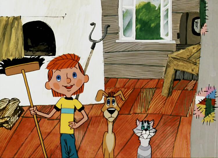 Мультфильм «Трое из Простоквашино»: дядя Федор, Шарик, кот Матроскин.