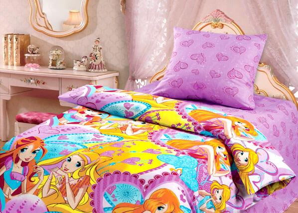 Сиреневое детское постельное белье