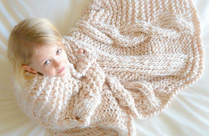 Пледы крупной вязки для детей