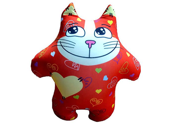 Подушка Антистресс DreamBag Кот сердечный красный