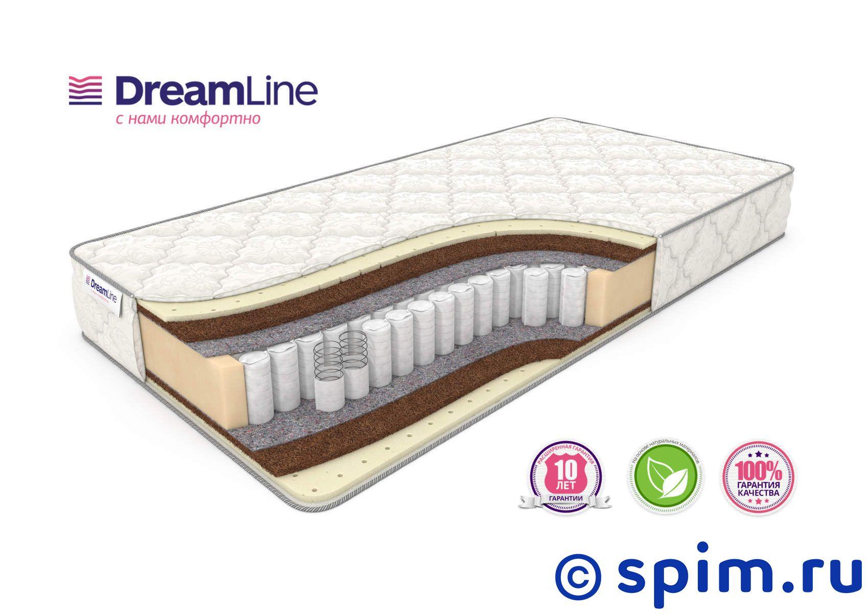 Матрас DreamLine Balance Medium Tfk 160х200 смМатрасы DreamLine Balance<br>Матрас средней жесткости на независимых пружинах (250 шт/м2), с прослойками кокоса и натурального латекса. Несъемный чехол из хлопкового жаккарда. Высота: 21 см. Нагрузка: до 120 кг. Размер ДримЛайн Баланс Медиум Тфк двуспальный: 160 x 200 см<br><br>Ширина см: 160<br>Длина см: 200<br>Линейка: Balance