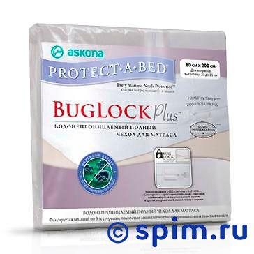 Водонепроницаемый чехол Аскона Protect-A-Bed BugLock Plus 80х200 смНаматрасники и основание Аскона<br>Чехол BlogLock Plus защищает матрас от пыли, пятен. Задерживает влагу, но пропускает воздух. Обладает рядом преимуществ: имеет приятную на ощупь поверхность из мягкого трикотажа; отлично пропускает воздух; защищает от пылевых клещей и аллергии; имеет высокоэластичный бурлет (подходит для матрасов до 23-35 см); молния по трем сторонам. Возможна машинная стирка при средней температуре(до 40 градусов) и сушка при низкой. Размер  односпальный: 80 x 200 см<br><br>Ширина см: 80<br>Длина см: 200
