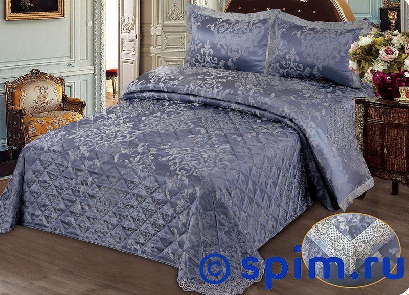 Комплект Kazanov.a. Женевьева с покрывалом, синийЖаккардовое постельное белье KAZANOV.A.<br>Материал: Кпб - 80% хлопок, 20% поливискоза; покрывало - 30% хлопок, 70% поливискоза.<br>