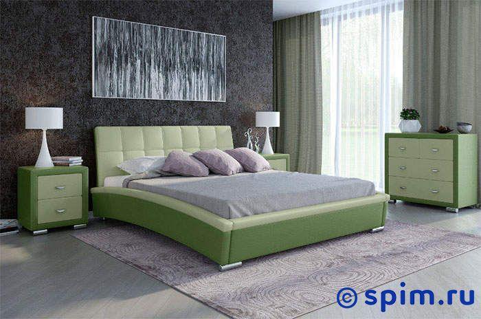Кровать Орматек Corso-1 (серый, зеленый) 180х190 смКровати Орматек<br>Материал: рама - Мдф, обивка – экокожа класса Люкс, ножки – хром. Размер Корсо-1 Ormatek двуспальный: 180 x 190 см<br><br>Ширина см: 180<br>Длина см: 190
