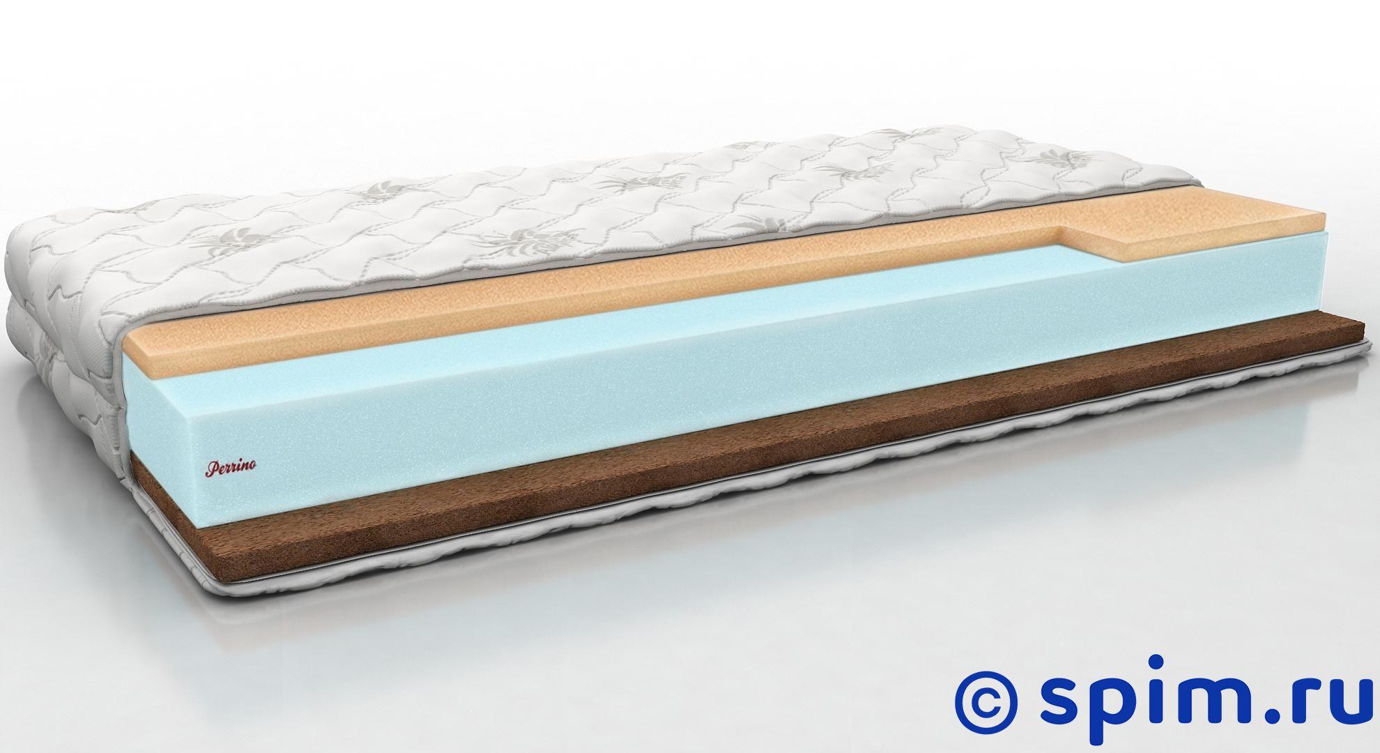 Матрас Perrino Солид 90х195 смБеспружинные матрасы Perrino<br>Разносторонний матрас на основе блока Эрголатекса: средней жесткости со стороны Меморикс с эффектом памяти и жесткий со стороны кокосовой койры. Съемный трикотажный чехол. Нагрузка: до 140 кг. Высота: 18 см. Размер Перрино Solid односпальный: 90 x 195 см<br><br>Ширина см: 90<br>Длина см: 195