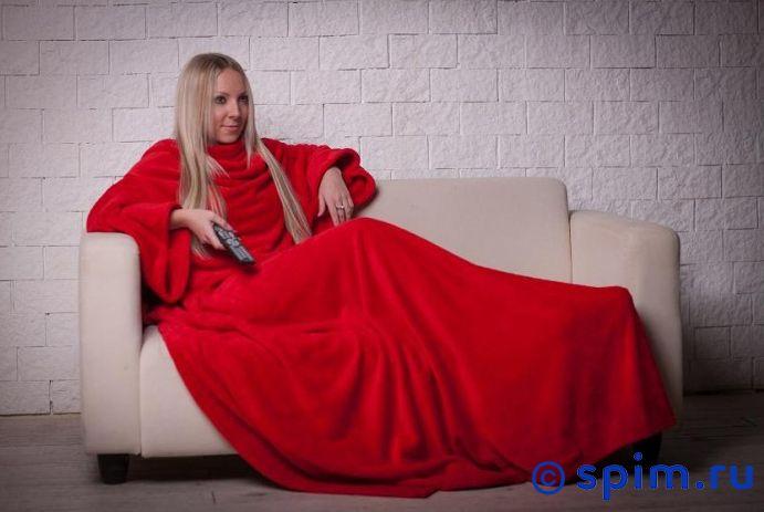 Плед Blankee с рукавами и поясом, красный