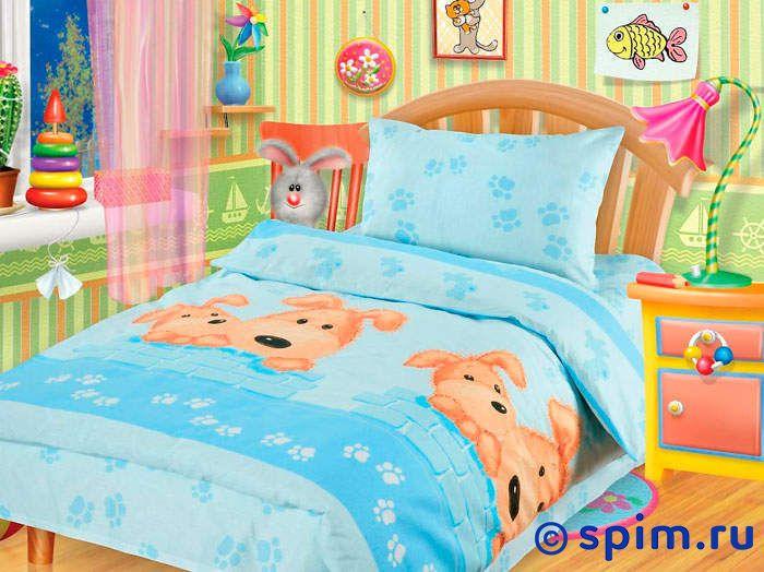 Комплект в детскую кроватку Собачки Непоседа голубой