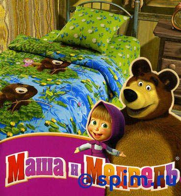 Комплект Маша и медведь, На рыбалкеДетское постельное белье Непоседа<br>Материал: 100% хлопок, бязь.<br>