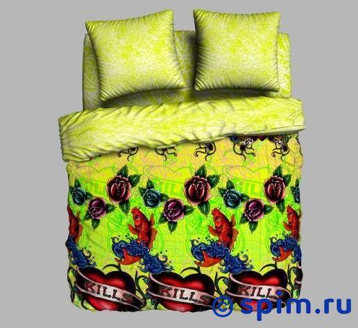 Комплект Унисон Tattoo 1.5 спальноеПостельное белье Унисон<br>Комплект постельного белья изготовлен из ткани, рисунок которой начинается светиться с наступлением ночи. Материал: 100% хлопок, биоматин. Плотность, г/м2: 115. Размер : 1.5 спальное<br><br>Размер: 1.5 спальное