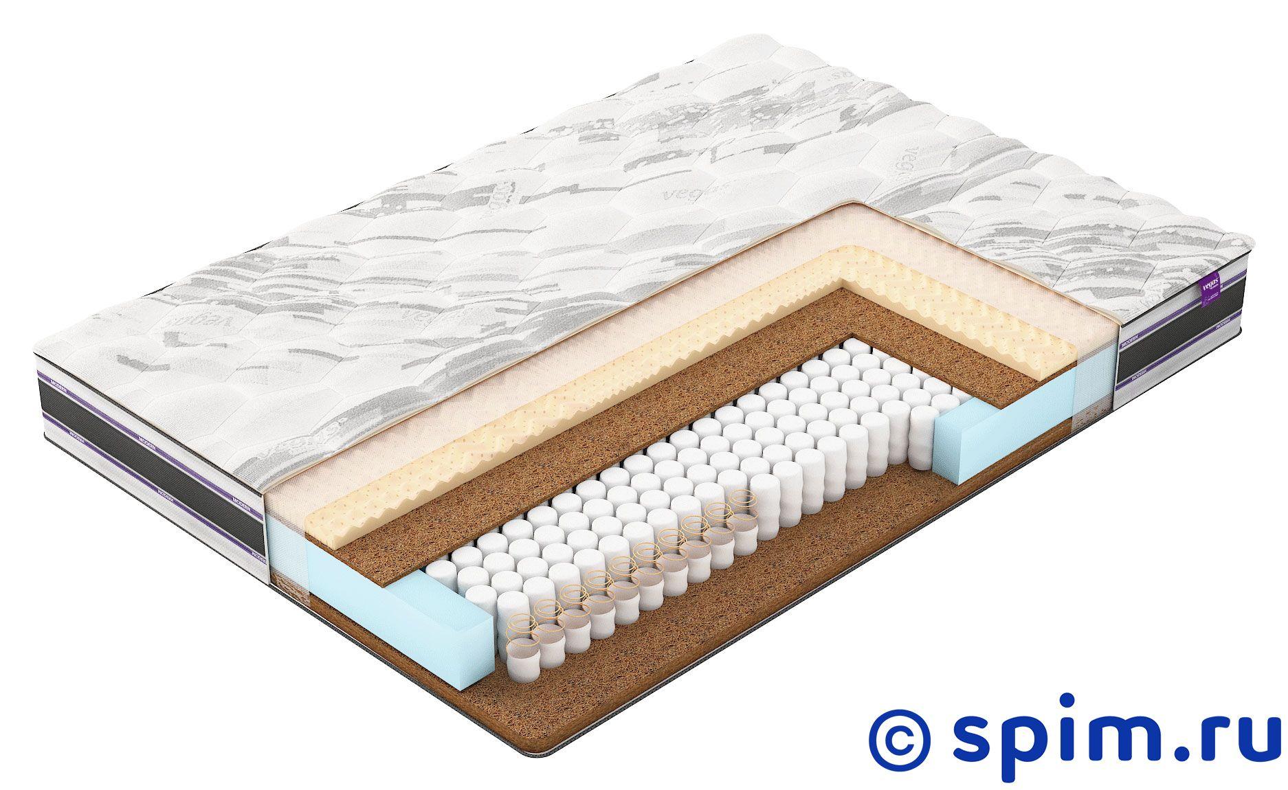 Матрас Вегас M4 130х200 смМатрасы Vegas Modern<br>Разносторонний матрас на независимых пружинах CopperCoil X1200 (296 шт/м2): средней жесткости со стороны climalatex и кокоса и жесткий со стороны кокоса. Съемный чехол из трикотажной ткани Smartcel Sensitive. Нагрузка: 130 кг. Высота: 23 см. Размер Vegas M4: 130 x 200 см<br><br>Ширина см: 130<br>Длина см: 200