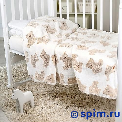 Плед Отк Бежевые мишки на белом 150х200 см
