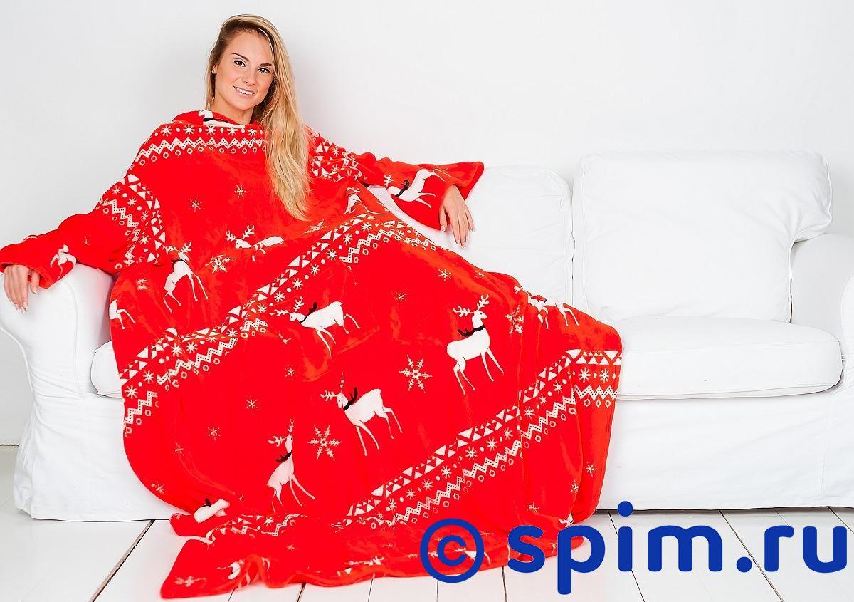 Плед Sleepy Year с рукавами, красный с белыми оленями
