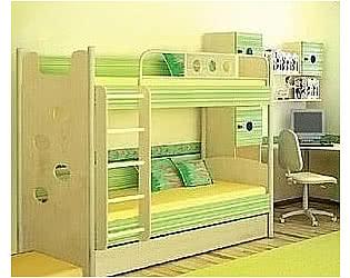 Кровать 2х ярусная со скалодромом Полосатый рейс
