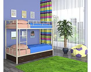 Двухъярусная кровать 4 сезона Ницца (ящики - венге)