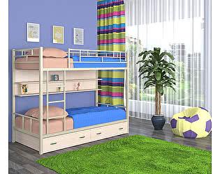 Купить кровать 4 Сезона Ницца (ящики, полка - дуб молочный) двухъярусная