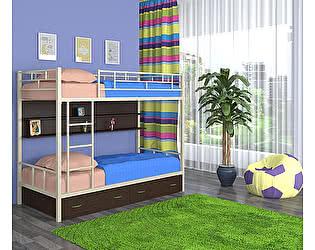 Купить кровать 4 Сезона Ницца (ящики, полка - венге) двухъярусная