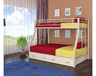 Двухъярусная кровать 4 сезона Милан (ящики - дуб молочный)