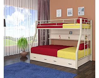 Двухъярусная кровать 4 сезона Милан (ящики, полка дуб молочный)