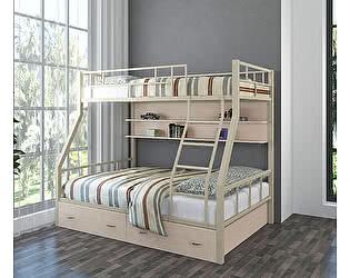 Купить кровать 4 Сезона Раута (ящики, полка дуб молочный) двухъярусная