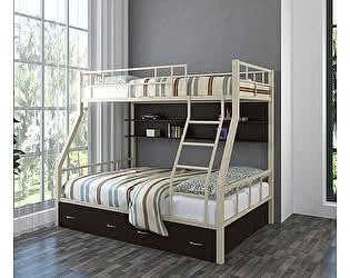Купить кровать 4 Сезона Раута (ящики, полка венге) двухъярусная