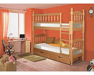 Кровать 2х ярусная Альянс XXI  Точеная