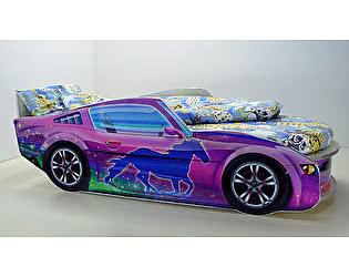 Кровать-машинка Мустанг Премиум с матрасом и подсветкой