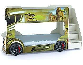 Купить кровать ВиВера машинка двухъярусная Автобус