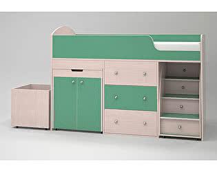 Кроватка-чердак Малыш (дуб молочный/зеленый)