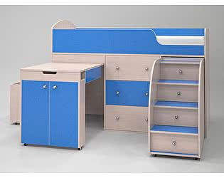 Кровать-чердак Малыш (дуб молочный/голубой)