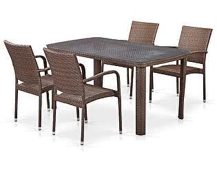 Купить  комплект садовой мебели Афина-мебель T51A/Y376-W773-150x85 4Pcs Brown