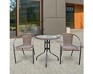 Купить  комплект садовой мебели Афина-мебель Асоль-1A TLH-037AR2/087A-D60 Cappuccino (2+1)