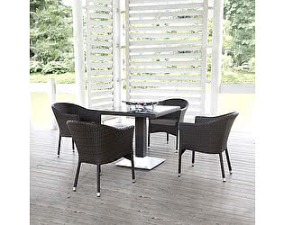 Купить  комплект садовой мебели Афина-мебель T606SWT/Y350W-W2390 Brown 4Pcs