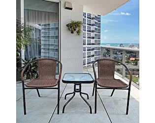 Купить  комплект садовой мебели Афина-мебель Асоль-3A TLH-037AR2/055S-45х45 Cappuccino (2+1)