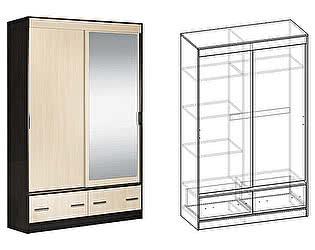 Купить шкаф Мебель Маркет Светлана купе 2-х створчатый с ящиками 1350 с 1 зеркалом