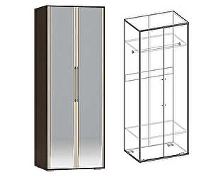 Шкаф Мебель Маркет Берта 2х створчатый с зеркалами (Венге/Ясень Шимо светлый)