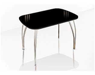 Купить стол ТЭКС Лотос обеденный 800 со стеклом (Лакобель черный)