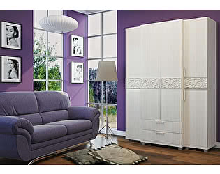 Шкафы Ирис 08 шкаф для белья 2х дверный с ящиками + 04 шкаф-пенал комбинированный - 2 шт
