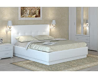 Кровать Арника Локарно 140х200 с латами интерьерная кожаная