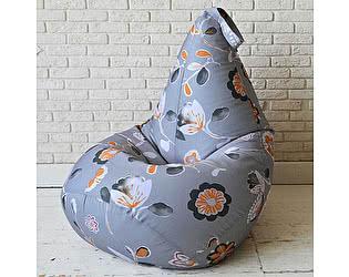 Купить кресло Декор Базар груша Цветы на сером, XXL