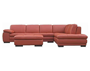 Угловой диван из кожи Defy Furniture Карбоника