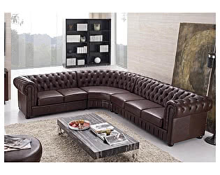 Угловой кожаный диван Defy Furniture Честерфилд
