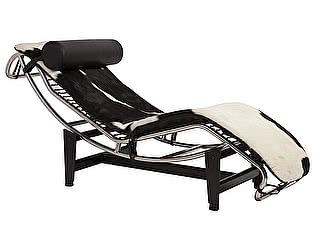 Кушетка DG-Home Chaise Longue LC4 Черно-белая Кожа Пони Класса Премиум