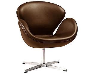 Кресло DG-Home Swan Chair Коричневое Натуральная Кожа