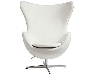 Кресло DG-Home Egg Chair Белое Кожа Класса Премиум