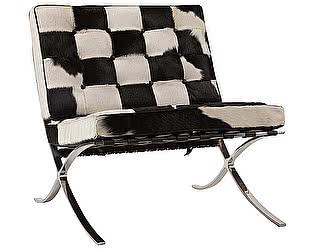 Кресло DG-Home Barcelona Chair Чёрно-белая Кожа Пони Класса Премиум