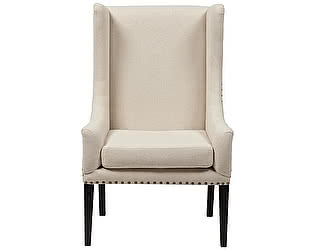 Кресло DG-Home Nailhead Fabric Armchair Белый Лен